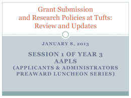 Grant Submission at Tufts: Offices and Internal Policies