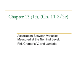 Chapter 12 Bivariate Association with Bivariate Tables and
