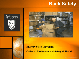 Back Safety - Murray State University