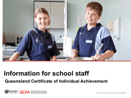 Information for school staff: Queensland Certificate of