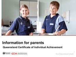 Information for parents: Queensland Certificate of