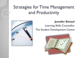 Time Management Strategies - University of Western Ontario