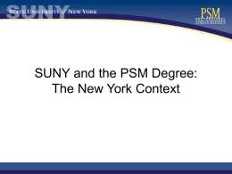 SUNY and the PSM Degree: The New York Context