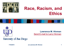 Race, Racism, and Ethics