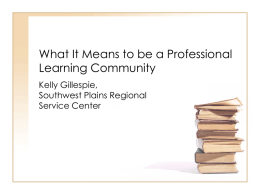 What It Means to be a Professional Learning Community
