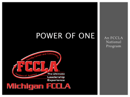 Power of one - Michigan FCCLA