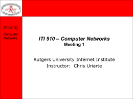 ITI 510 – Computer Networks Meeting 1