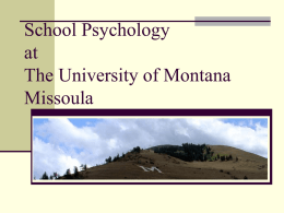 School Psychology at The University of Montana Missoula