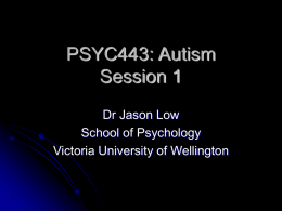 Autism 1 - Victoria University of Wellington