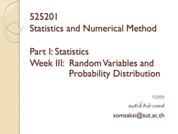525201 Statistics and Numerical Method Part I: Statistics