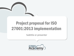 Project plan for ISO 27001 implementation