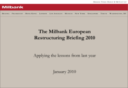100110_The Milbank European Restructuring Briefing 2010