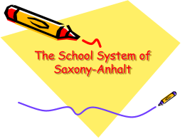 The School System of Saxony