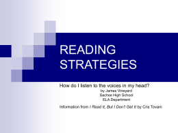 READING STRATEGIES - Dr. Radloff's Home Page
