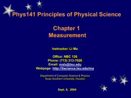 phys141 lecture - Texas Southern University