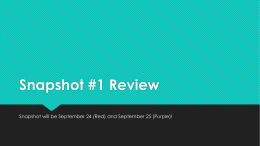 Snapshot #1 Review