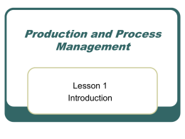 Management of Value Creating Processes