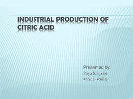 CITRIC ACID PRODUCTION