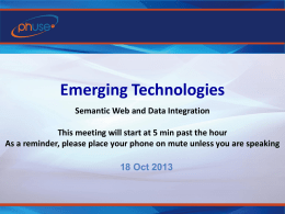 Emerging Technologies - Semantic Web