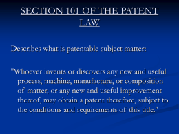 SECTION 101 OF THE PATENT LAW