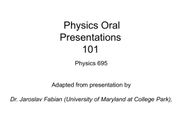 Physics Oral Presentations 101