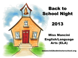 Back to School Night 2013 - Bedminster Township School