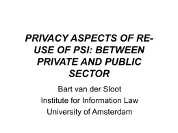 PRIVACY ASPECTS OF PSI BETWEEN PRIVATE AND PUBLIC SECTOR