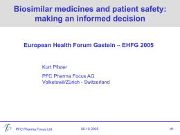 Biogenerics - European Health Forum Gastein