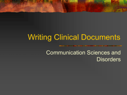 Writing Clinical Documents