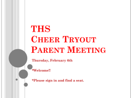 SLHS Cheer and Mascot Tryout Parent Meeting