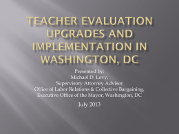 Teacher Evaluation Upgrades and Implementation in