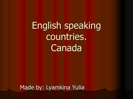 English speaking countries. Canada