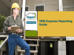 VEM Expense Reporting Guide - Vanguard Emergency Management