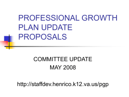 PROFESSIONAL GROWTH PLAN UPDATE PROPOSALS