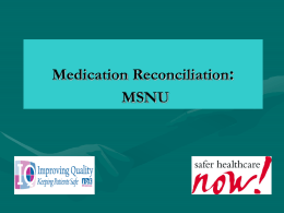IWK Medication Reconciliation MSNU Care Teams