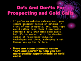 Do's And Don'ts For Prospecting and Cold Calls
