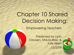 Chapter 10 Shared Decision Making