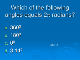 Which of the following angles equals 2p radians?