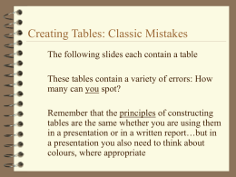 Creating Tables: Classic Mistakes