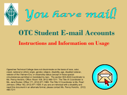OTC Student E-mail Accounts - Ogeechee Technical College