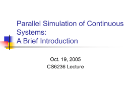 Parallel Simulations of Continuous Systems