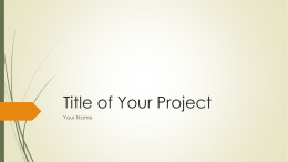 Title of Your Project - Mrs. Ramella's Science Class