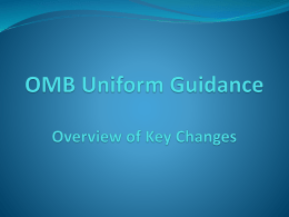 OMB Uniform Guidance Effective December 26, 2014