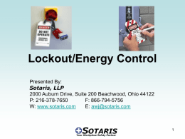 Lockout/Energy Control - Lake County Safety Council