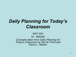 Daily Planning for Today's Mathematics Classroom
