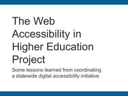The Web Accessibility in Higher Education Project