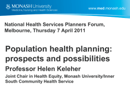 National Health Services Planners Forum, Melbourne