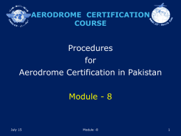 AERODROME CERTIFICATION