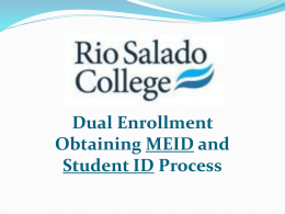 Dual Enrollment Quick Admit Process