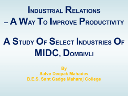 INDUSTRIAL RELATIONS – A WAY TO IMPROVE …
